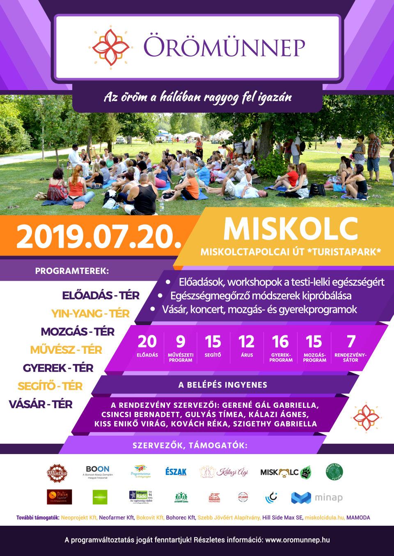 Örömünnep 2019 Miskolci rendezvény Hivatalos plakátja